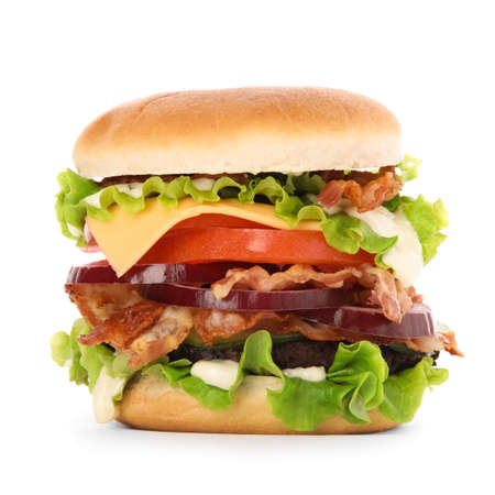 Photo for Tasty burger with bacon isolated on white background - Royalty Free Image