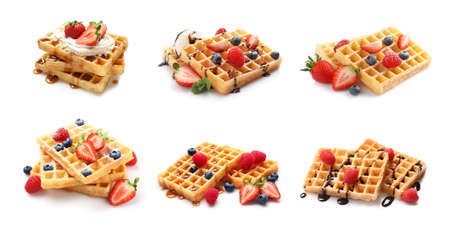 Photo pour Set of delicious waffles with different toppings on white background - image libre de droit