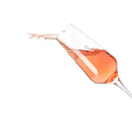 Foto de Glass of rose champagne isolated on white - Imagen libre de derechos