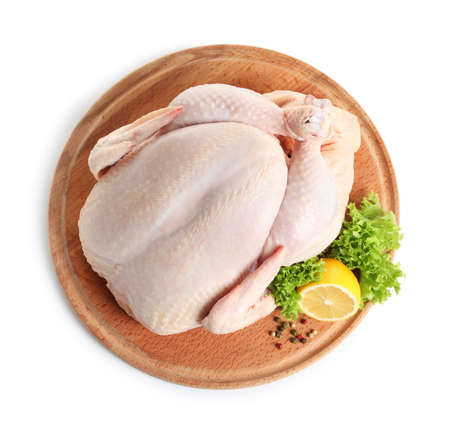 Photo pour Wooden board with raw turkey and ingredients on white background, top view - image libre de droit