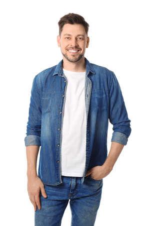 Photo pour Portrait of handsome man posing on white background - image libre de droit
