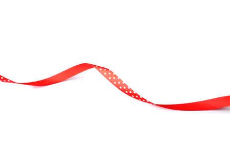 Photo pour Simple red ribbon on white background. Festive decoration - image libre de droit
