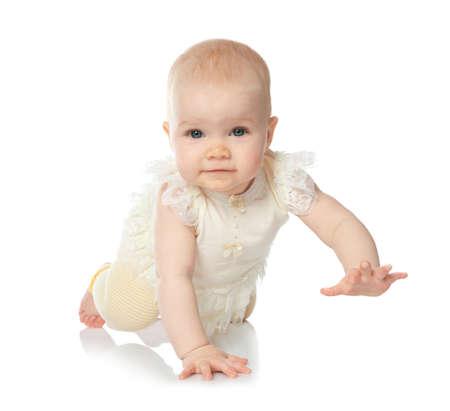 Photo pour Cute little baby crawling on white background - image libre de droit