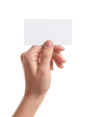 Photo for Woman holding empty business card isolated on white, closeup - Royalty Free Image