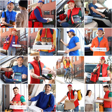 Photo for Set of couriers with orders. Food delivery service - Royalty Free Image