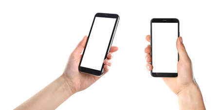 Photo for Set with people holding smartphones on white background, closeup of hands. Space for text - Royalty Free Image