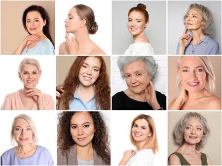 Photo pour Collage of women with beautiful faces against color background - image libre de droit