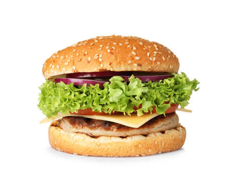 Photo for Tasty fresh burger with cutlet isolated on white - Royalty Free Image