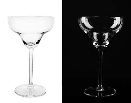 Foto de Empty glasses on white and black background - Imagen libre de derechos