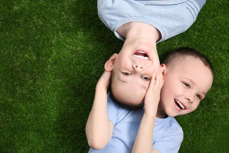 Photo for Portrait of cute twin brothers on green grass, top view. Space for text - Royalty Free Image
