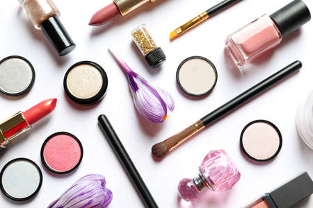 Photo for Different makeup products and flowers on white background, top view - Royalty Free Image