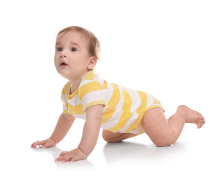 Photo for Cute little baby crawling on white background - Royalty Free Image