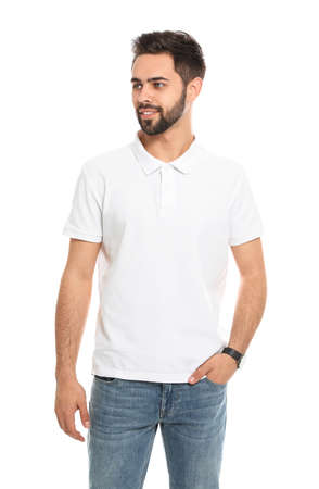 Photo for Young man in t-shirt on white background. Mock up for design - Royalty Free Image
