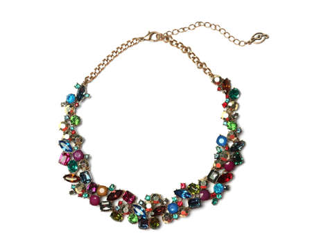 Photo pour Stylish necklace with gemstones isolated on white, top view. Luxury jewelry - image libre de droit