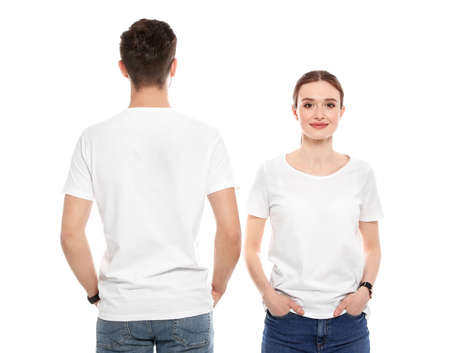 Photo for Young people in t-shirts on white background. Mock up for design - Royalty Free Image