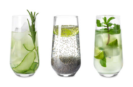 Photo for Set of glasses with different refreshing drinks on white background - Royalty Free Image