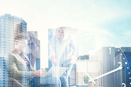 Multiple exposure of business people, cityscape and clock