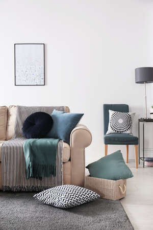 Photo for Living room interior with comfortable sofa and pillows - Royalty Free Image