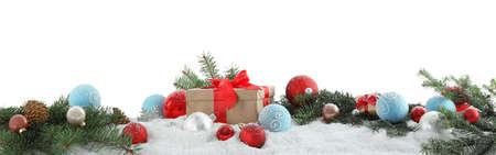 Photo pour Fir branches, Christmas decoration and snow against white background - image libre de droit