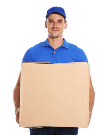 Photo for Happy young courier with cardboard box on white background - Royalty Free Image