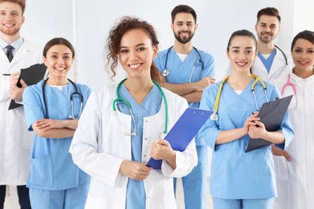 Photo pour Team of medical workers in hospital. Unity concept - image libre de droit
