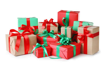 Photo for Different Christmas gift boxes on white background - Royalty Free Image
