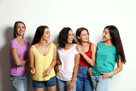 Photo pour Happy women on white background. Girl power concept - image libre de droit
