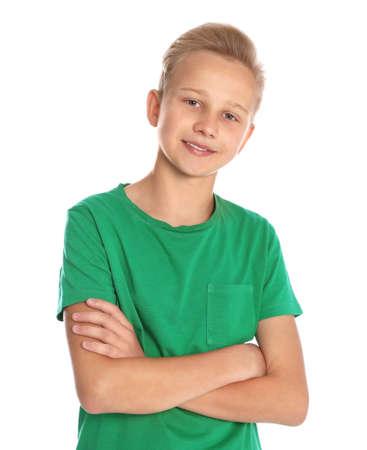 Photo for Portrait of teenage boy on white background - Royalty Free Image