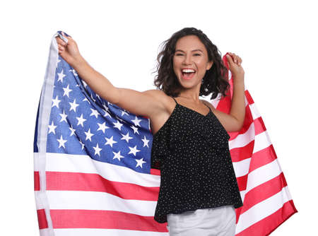 Photo for Happy young woman with American flag on white background - Royalty Free Image