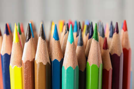 Photo for Different color pencils on white background, closeup view - Royalty Free Image
