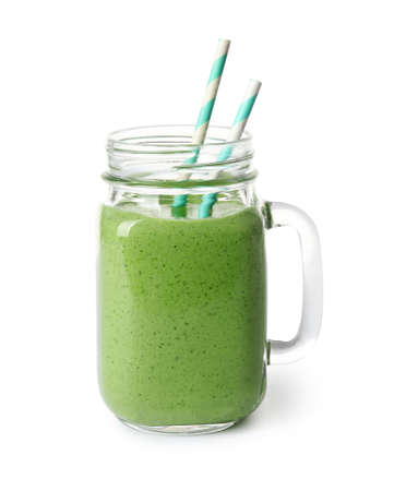 Photo pour Mason jar of healthy green smoothie with fresh spinach on white background - image libre de droit