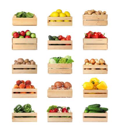 Foto für Set of wooden crates with different fruits, vegetables and eggs on white background - Lizenzfreies Bild