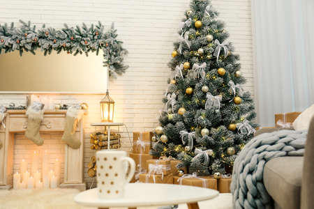 Photo for Decorated Christmas tree in modern living room interior - Royalty Free Image