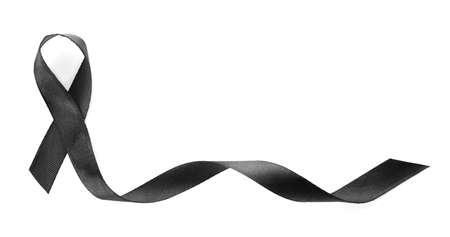 Photo pour Black ribbon on white background, top view. Funeral symbol - image libre de droit