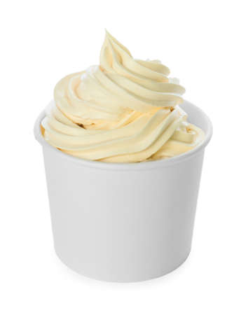 Photo for Cup with tasty frozen yogurt on white background - Royalty Free Image