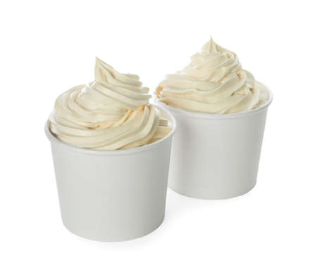 Photo for Cups with tasty frozen yogurt on white background - Royalty Free Image