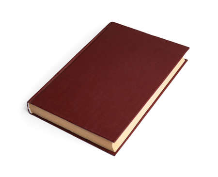 Photo for Book with blank brown cover on white background - Royalty Free Image