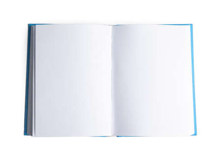 Photo for Open hardcover book with blank pages on white background, top view - Royalty Free Image