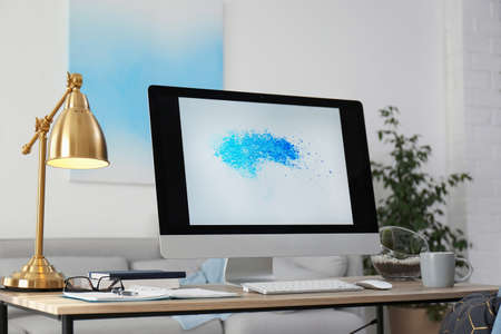 Photo pour Comfortable workplace with modern computer on desk. Home office - image libre de droit