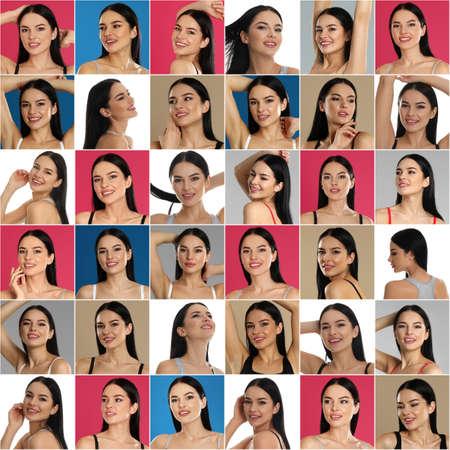 Photo pour Collage with portraits of young woman on color backgrounds - image libre de droit