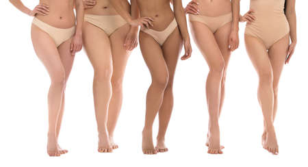 Photo for Group of women with different body types in underwear on white background, closeup - Royalty Free Image