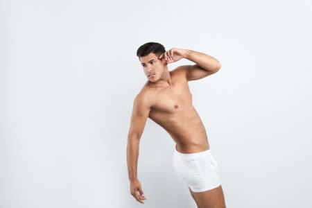 Photo for Handsome man in underwear on white background - Royalty Free Image
