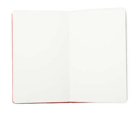 Photo for Stylish open notebook isolated on white, top view - Royalty Free Image