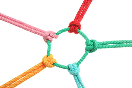 Photo for Colorful ropes tied together on white background. Unity concept - Royalty Free Image