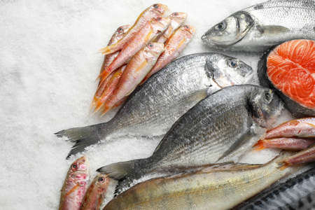 Photo pour Fresh fish and seafood on ice, flat lay - image libre de droit