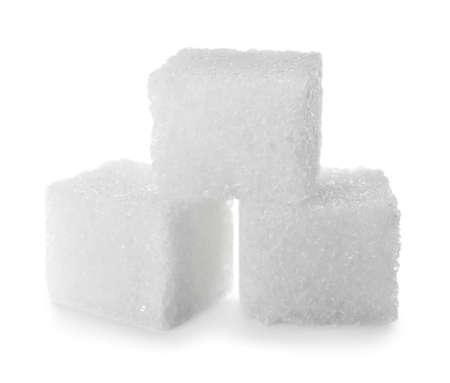 Photo pour Pure refined sugar cubes isolated on white - image libre de droit
