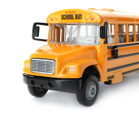 Photo pour Yellow school bus isolated on white. Transport for students - image libre de droit