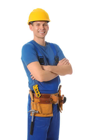 Photo pour Handsome carpenter with tool belt isolated on white - image libre de droit