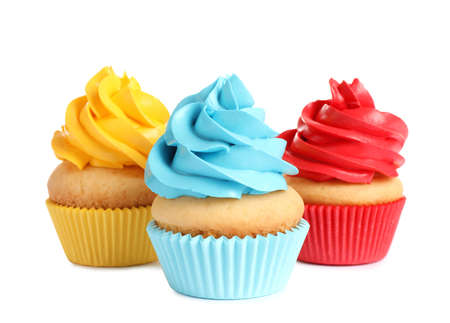 Photo pour Delicious birthday cupcakes with buttercream on white background - image libre de droit