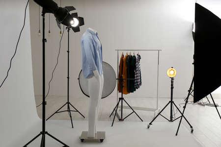 Photo pour Ghost mannequin with modern clothes in professional photo studio - image libre de droit